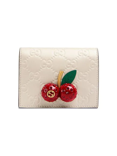 Gucci Signature Card Case Wallet With Cherries In 8597 White