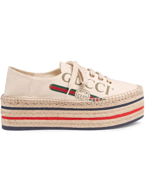 Gucci Canvas Platform Espadrille Sneakers In White