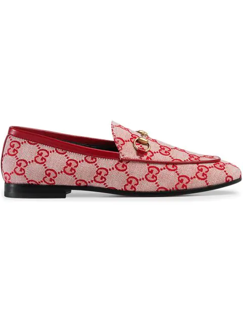 200341603 Gucci Jordaan Horsebit-Detailed Leather-Trimmed Logo-Printed Canvas Loafers  In Neutrals