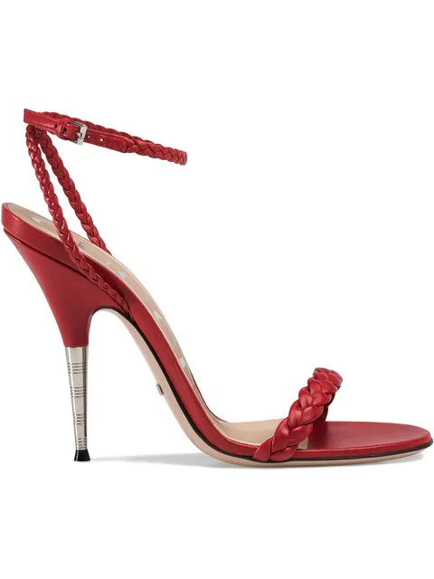 Gucci Braided Leather Sandal In Red