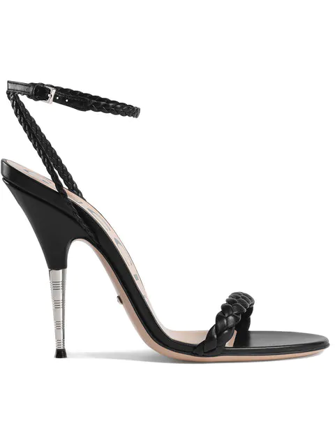 Gucci Braided Leather Sandals In Black