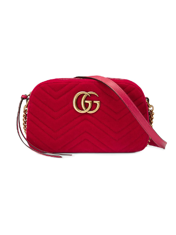e3f58064aceb Gucci Small Gg Marmont 2.0 Matelasse Velvet Shoulder Bag - Red ...