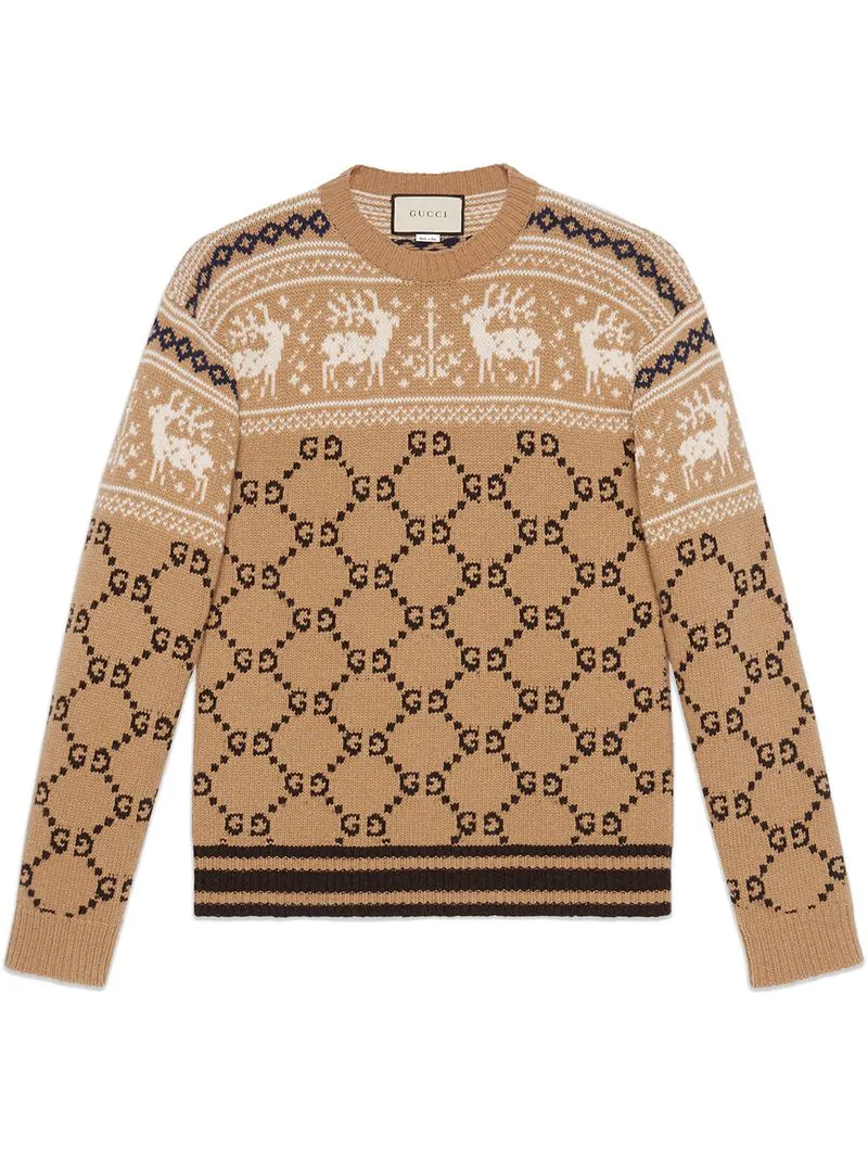 58ee5d9914747 Gucci Gg And Reindeer Jacquard Wool Sweater In Neutrals