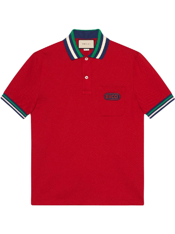 eed8ff76e Gucci Men's PiquÉ-Knit Polo Shirt With Contrast Color, Red | ModeSens