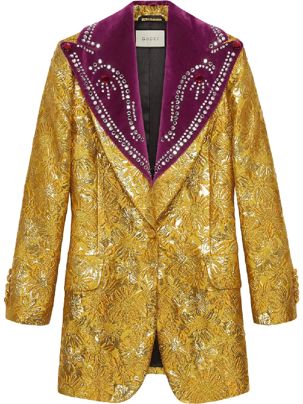 c29208fc2 Gucci Brocade Evening Jacket With Detachable Lapel In Yellow | ModeSens