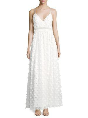 Nicole Miller 3D Floral Gown In Ivory