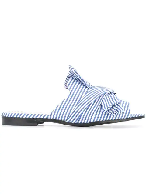 Marc Cain Striped Bow Sandals In Blue