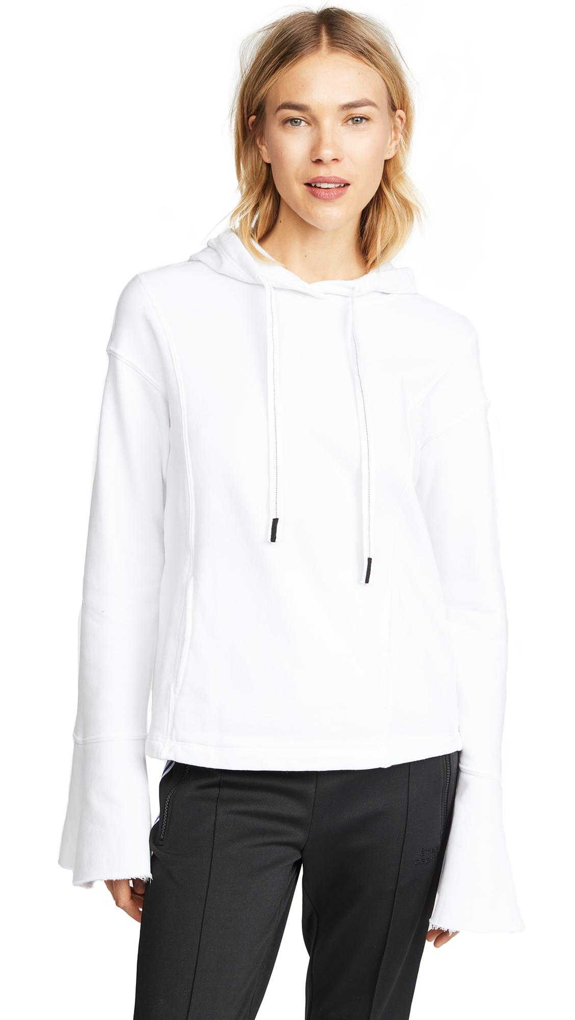 Stateside Flute Sleeve Cropped Hoodie In White