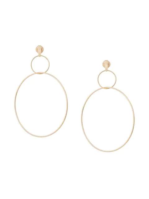 Natasha Schweitzer Double Drop Hoop Earrings In Metallic