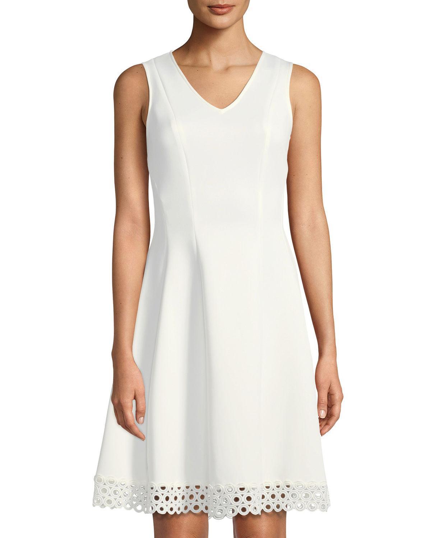 2c12ed6b6c13 Donna Ricco V-Neck Fit   Flare Lace-Hem Dress In Ivory