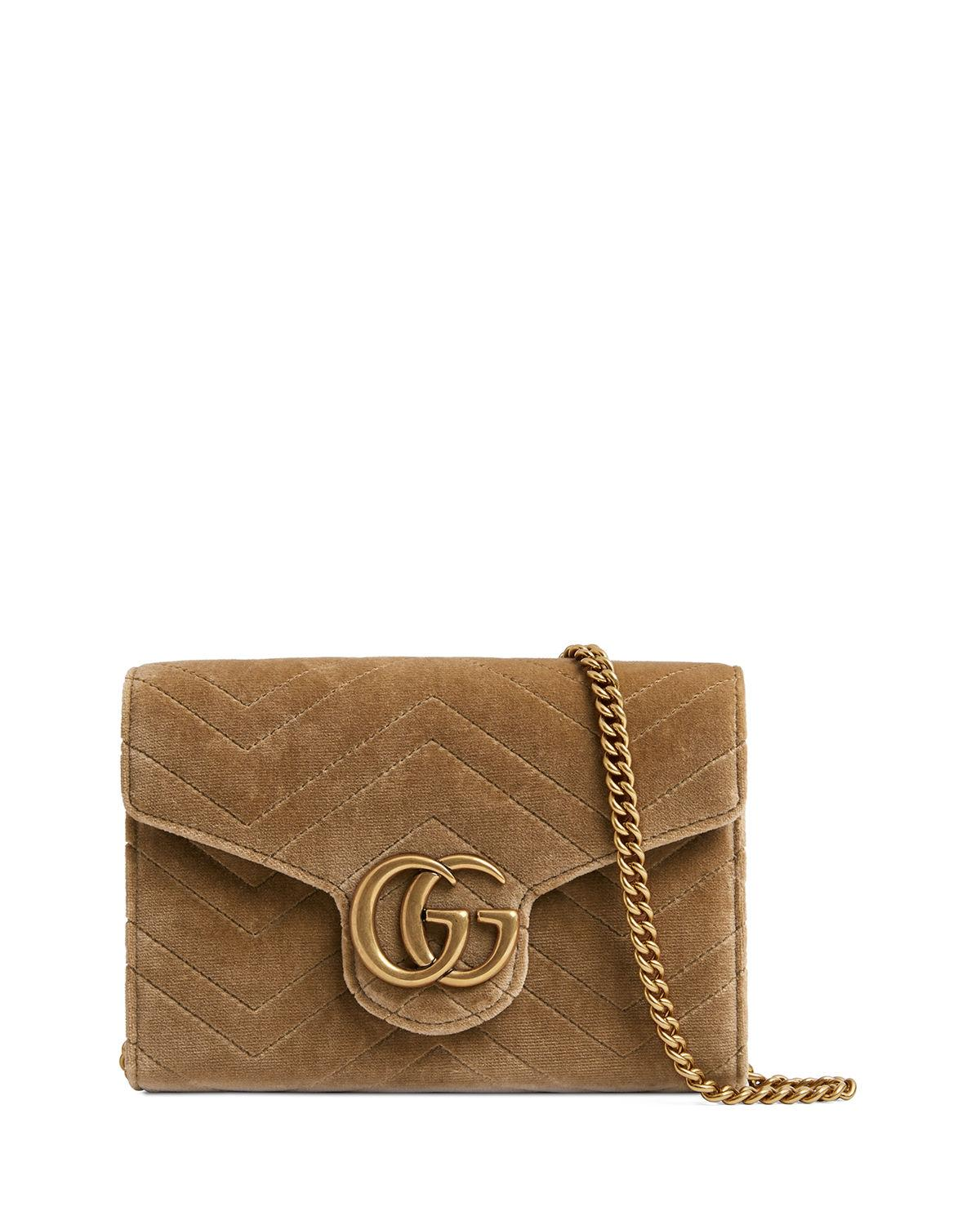 2be6ec223025 Gucci Gg Marmont 2.0 Matelasse Velvet Wallet On A Chain, Taupe ...