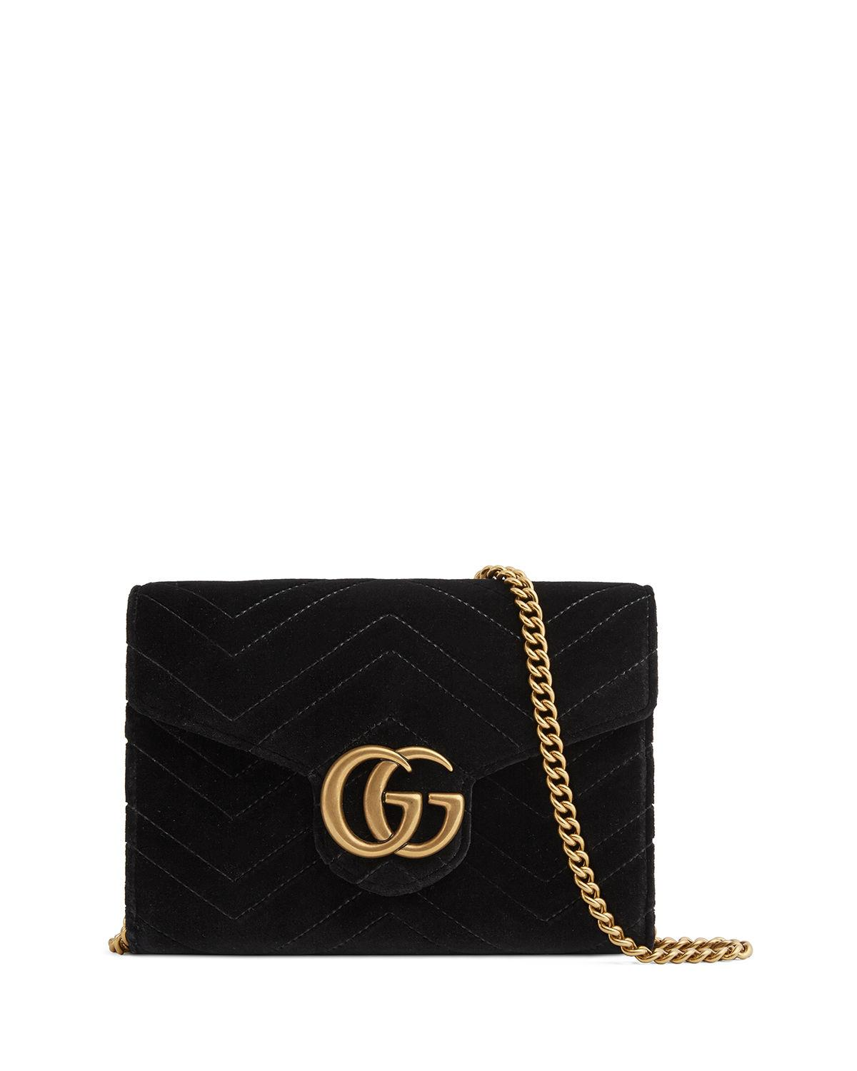 b32304475429 Gucci Gg Marmont 2.0 Matelasse Velvet Wallet On A Chain In Black ...