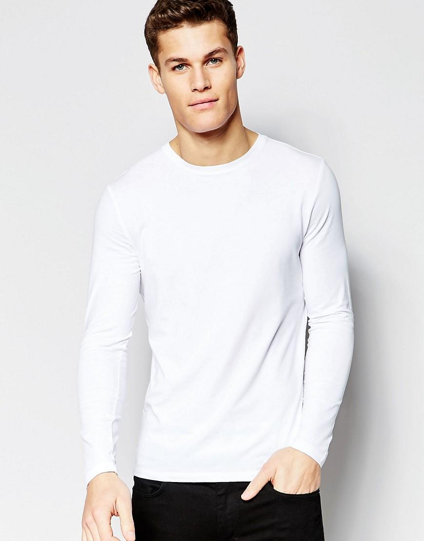 c6ac780ea New Look Muscle Fit Long Sleeve T-Shirt In White - White | ModeSens