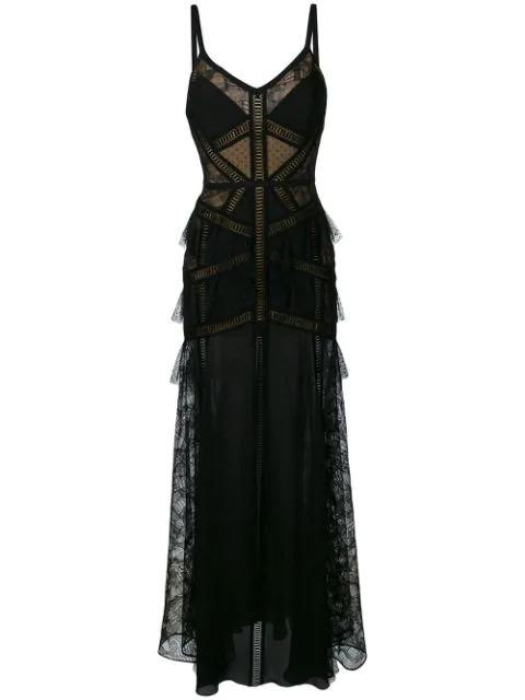 Elie Saab Tulle And Floral-Lace Gown In Black