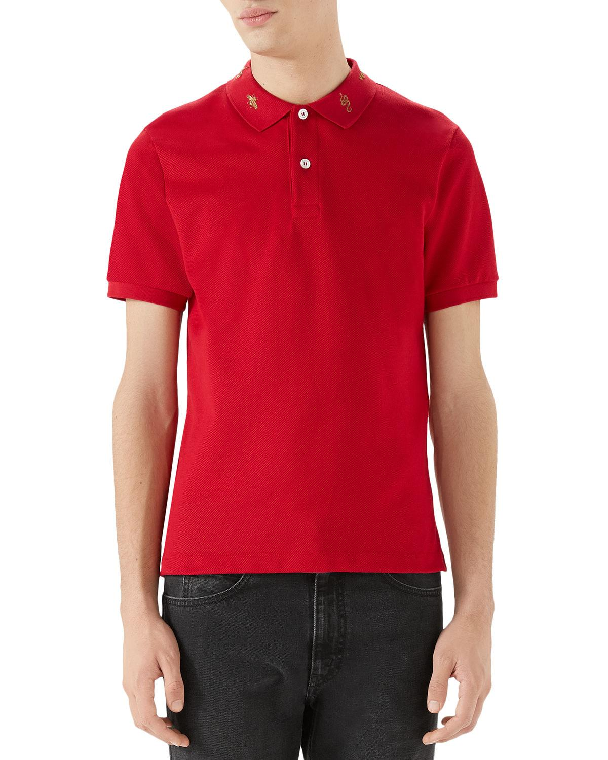 fec9f38db29c Gucci Men s Emblems Embroidered-Collar Polo Shirt In Red