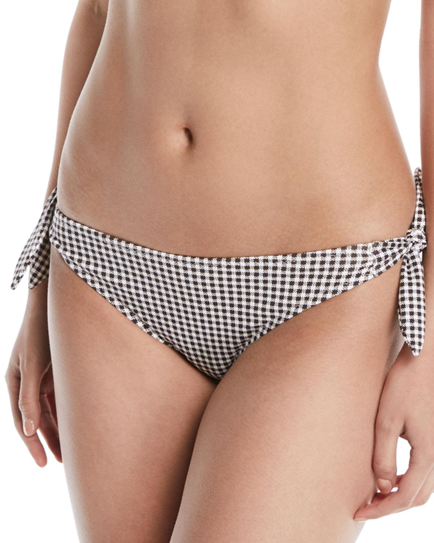 d75090b246364 Eberjey Betty Ursula Gingham Tie-Side Swim Bikini Bottoms In Black ...