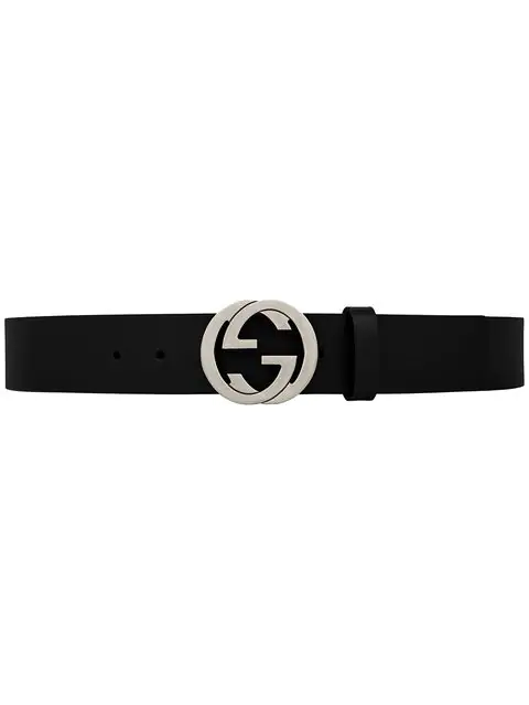 Gucci Leather Belt With Interlocking G Buckle In 1000 Black