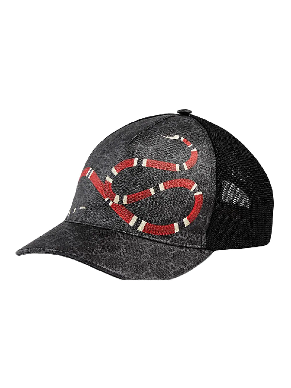 9b991d35d52a Gucci Snake-Print Coated Canvas & Mesh Trucker Hat In Black | ModeSens