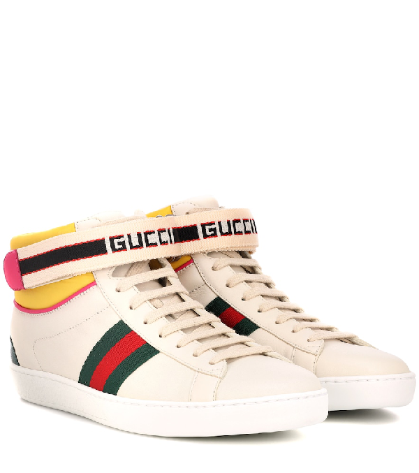 a746d0802308 Gucci New Ace High Leather Sneaker With Strap In White