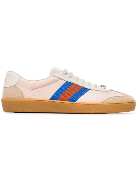 Gucci Neutral G74 Web Leather Sneakers In Pink