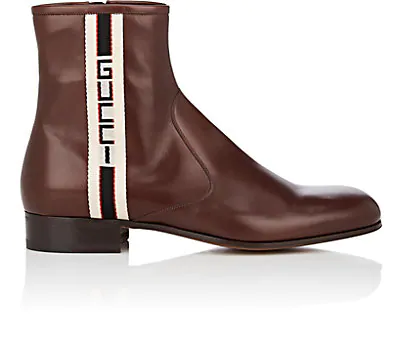 Gucci Logo-Striped Leather Boots In Brown