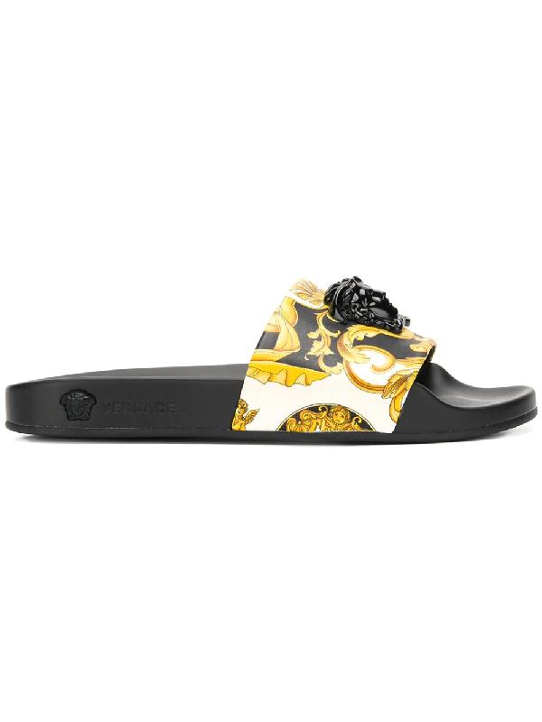 Versace Palazzo Medusa Pool Slide Sandals In Db5n Modesens