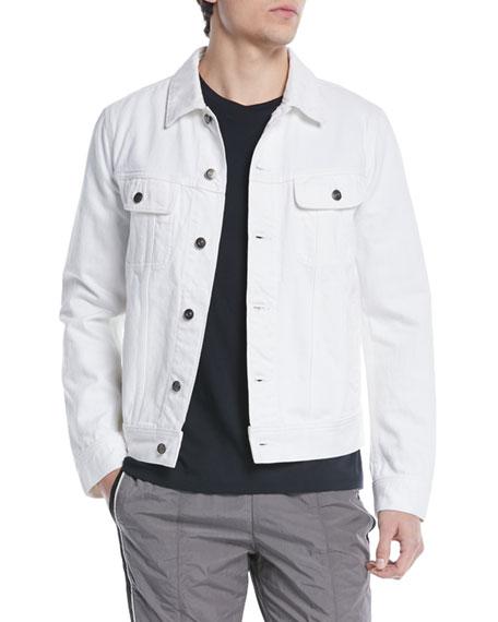 Vince Men's Denim Trucker Jacket In White Wash