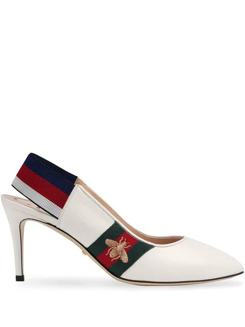 Gucci Women's Sylvie Leather Web Mid Heel Slingback Pumps In White