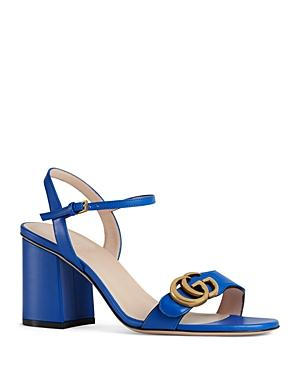 Gucci Women's Marmont Leather Mid Heel Sandals In Blue