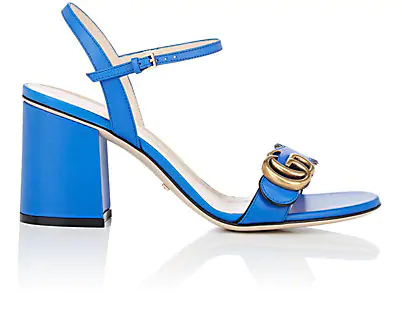 Gucci Women's Marmont Leather Mid Heel Sandals In Md. Blue