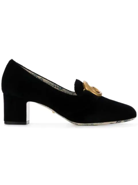 Gucci Women's Velvet Double G Mid Heel Pumps In Black