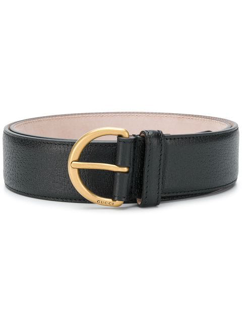 Gucci Bee Pendant Leather Belt In Black