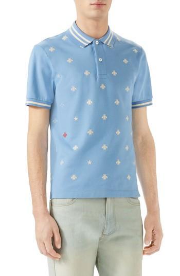647854ea Gucci Embroidered Bee Pique Polo In Light Blue | ModeSens