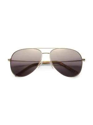 Saint Laurent Stainless Steel Aviator Sunglasses In Rs-0000-ja