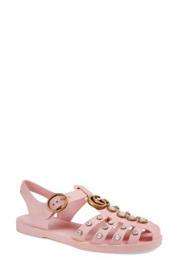 063b737272d2 Buckle closure. Rubber sole. Available in Light Pink. Made in Italy. Gucci  Women s Crystal-Embellished Rubber Sandals - Pink Size 6 A great designer  gift.