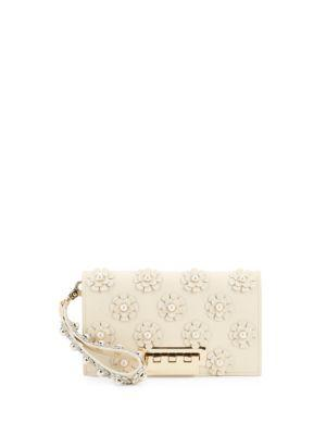 Zac Zac Posen Earthette Large Leather Clutch In Ivory