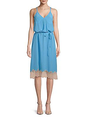Zadig & Voltaire Cage V-Neck Silk Dress In Blue