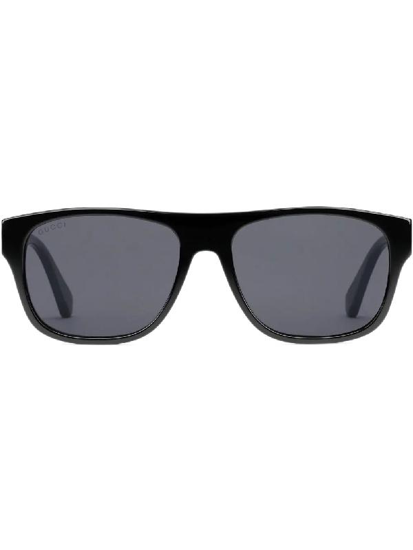 ac82f56364 Gucci Rectangular-Frame Acetate Sunglasses In Black
