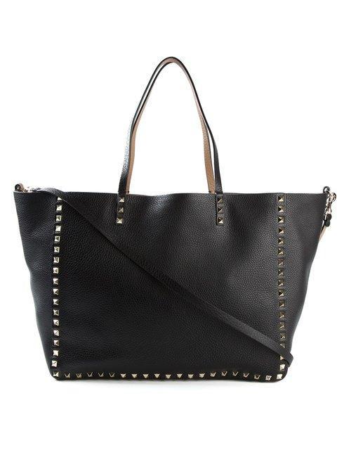 Valentino Medium Double Rockstud Reversible Tote Bag, Black/Bright Cuir In Eero