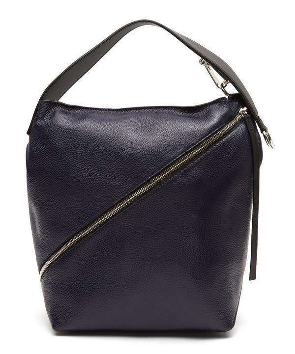 d4258c55da47 Proenza Schouler Textured Grain Zip Medium Hobo Bag In Navy