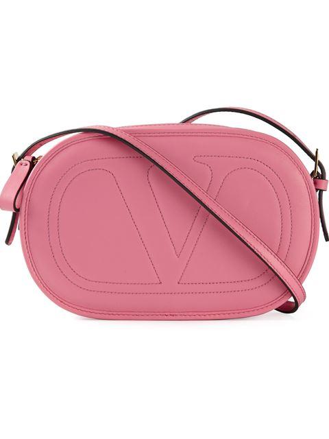 Valentino Smooth Logo Crossbody Bag In Pink