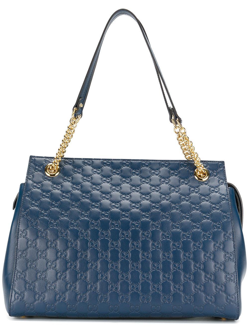 be0e0e62a74 Gucci Signature Chain-Handle Tote Bag In Medium Gray