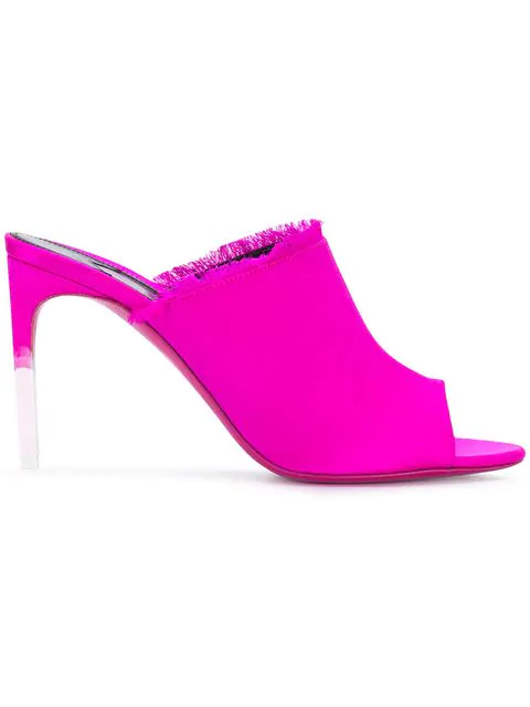 Tom Ford Fringe Detailed Mules In Pink
