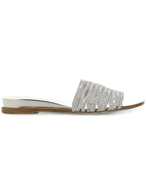 Casadei Bead Detail Mules In Metallic