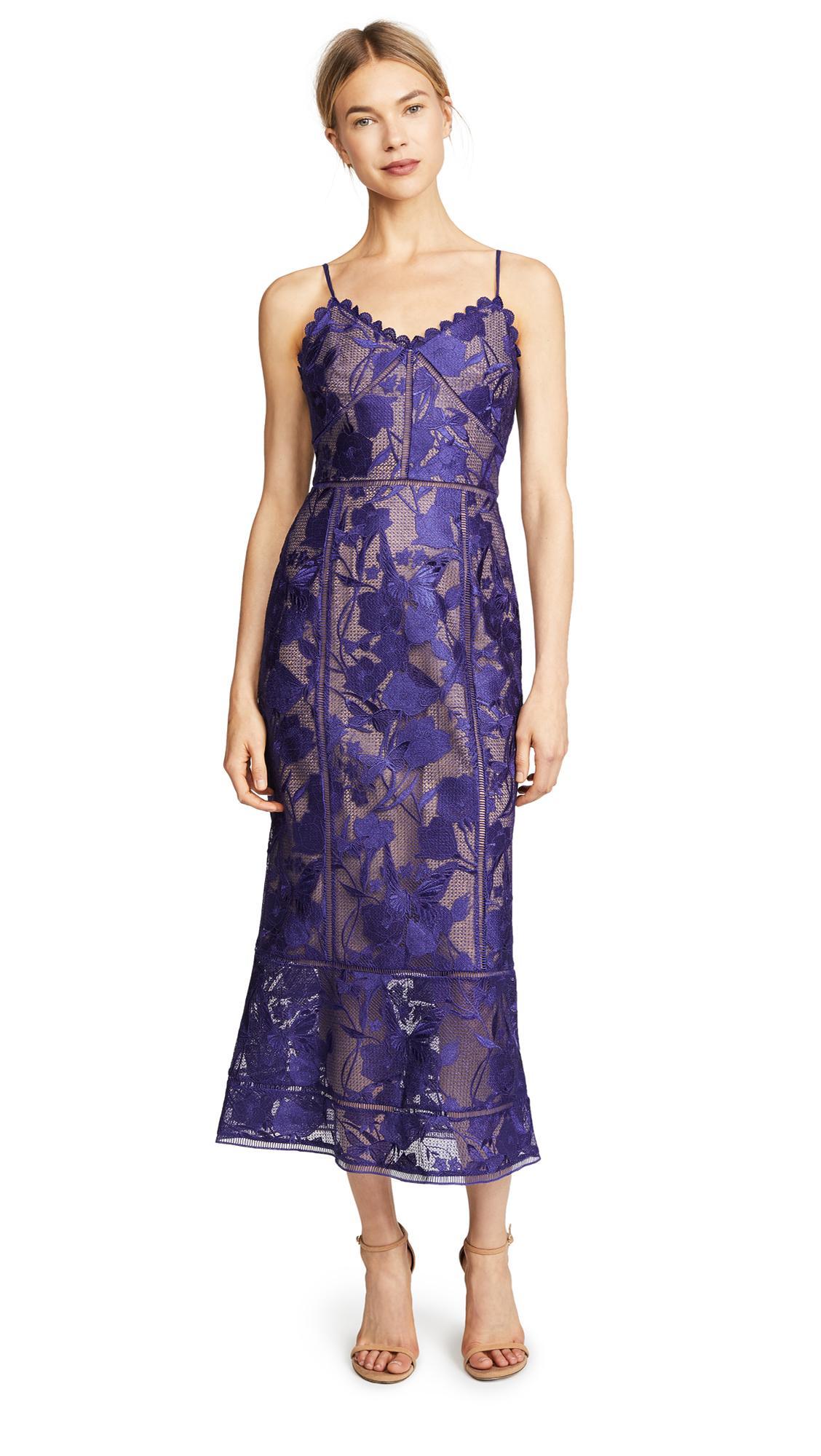 fb9e74bd8f Marchesa Notte Tea Length Cocktail Dress In Purple | ModeSens