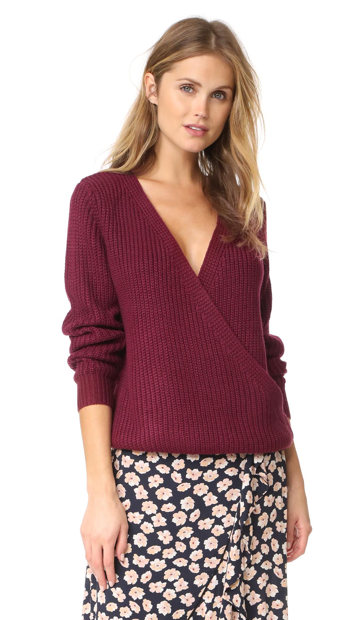Minkpink Carmen Wrap Front Sweater In Wine
