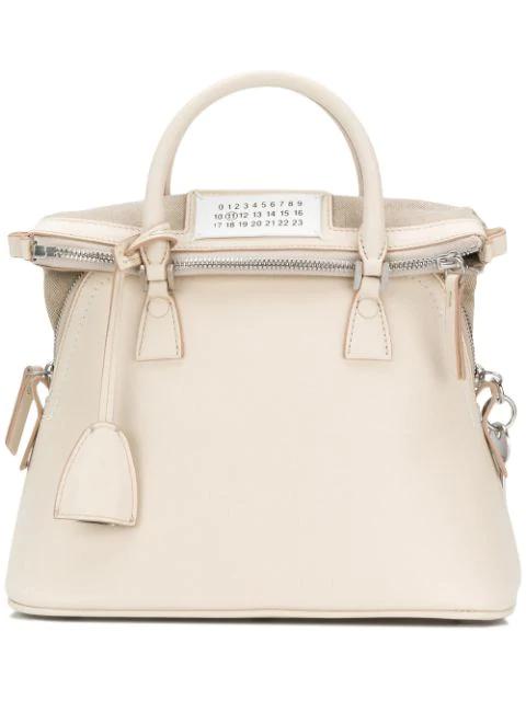 Maison Margiela 5ac Leather Mini Bag In Neutrals