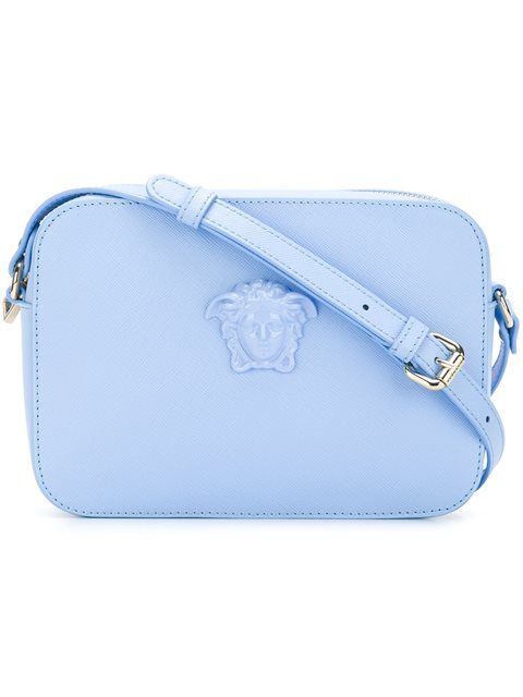 e88c6106956f Blue calf leather  Palazzo Medusa  shoulder bag from Versace featuring a  top zip closure
