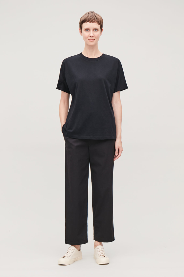 Cos Relaxed Kimono-shape Sleeve T-shirt In Black