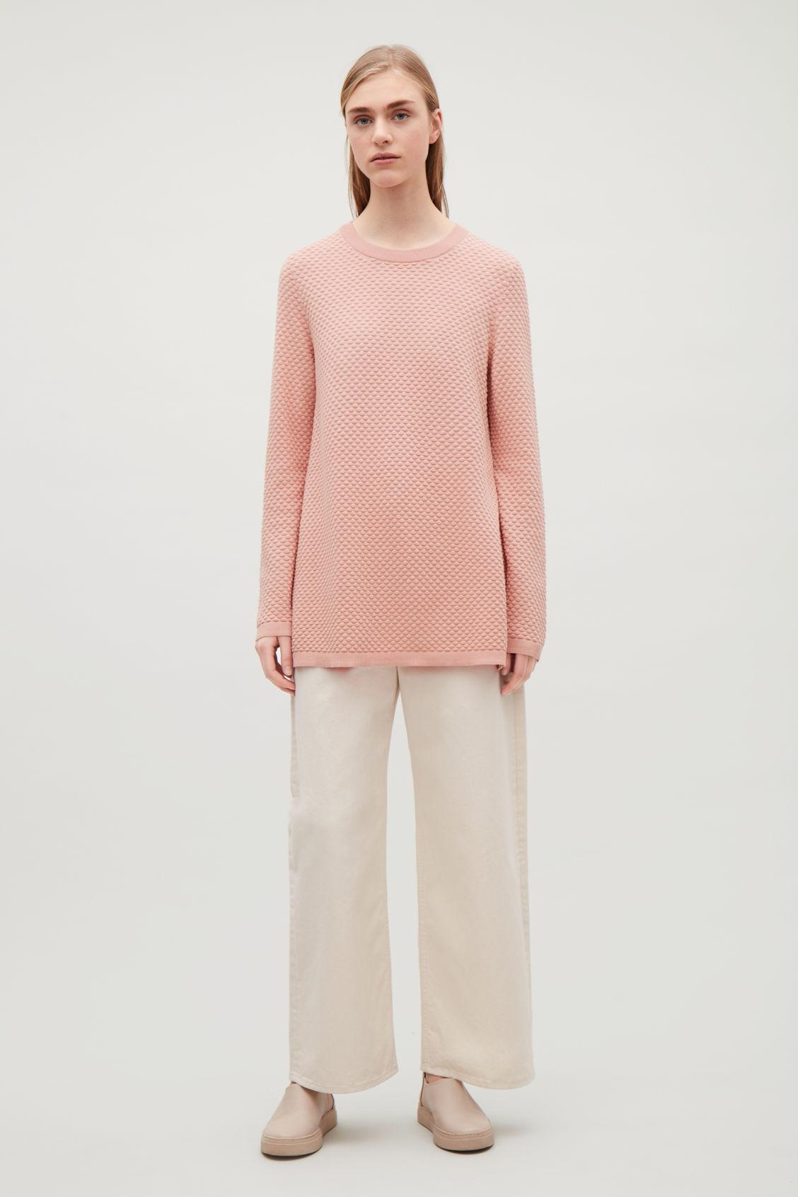 cff12317cc5a Cos Textured Cotton Jumper In Pink   ModeSens